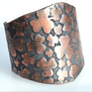Irish Clover Wide Copper Cuff Bracelet Bracer Leaf
